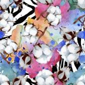 Bílé bavlněné květinové květiny. Divoké květinové listy. Akvarel na obrázku. Akvarel na kreslicím módu. Bezespání vzorek pozadí. Textura pro tisk tapety.