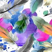 Barevné ptačí pero z odletu. Vodný obrázek pozadí-barevný. Bezespání vzorek pozadí.
