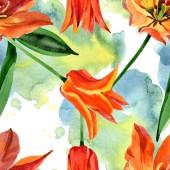 Narancs tulipán virágos botanikai virágok. Akvarell háttér illusztráció meg. Folytonos háttérmintázat.