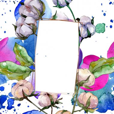 Cotton floral botanical flower. Wild spring leaf wildflower isolated. Watercolor background illustration set. Watercolour drawing fashion aquarelle isolated. Frame border ornament square. stock vector