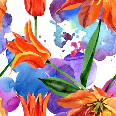 Orange tulip floral botanical flower. Wild spring leaf wildflower. Watercolor illustration set. Watercolour drawing fashion aquarelle. Seamless background pattern. Fabric wallpaper print texture. stock vector