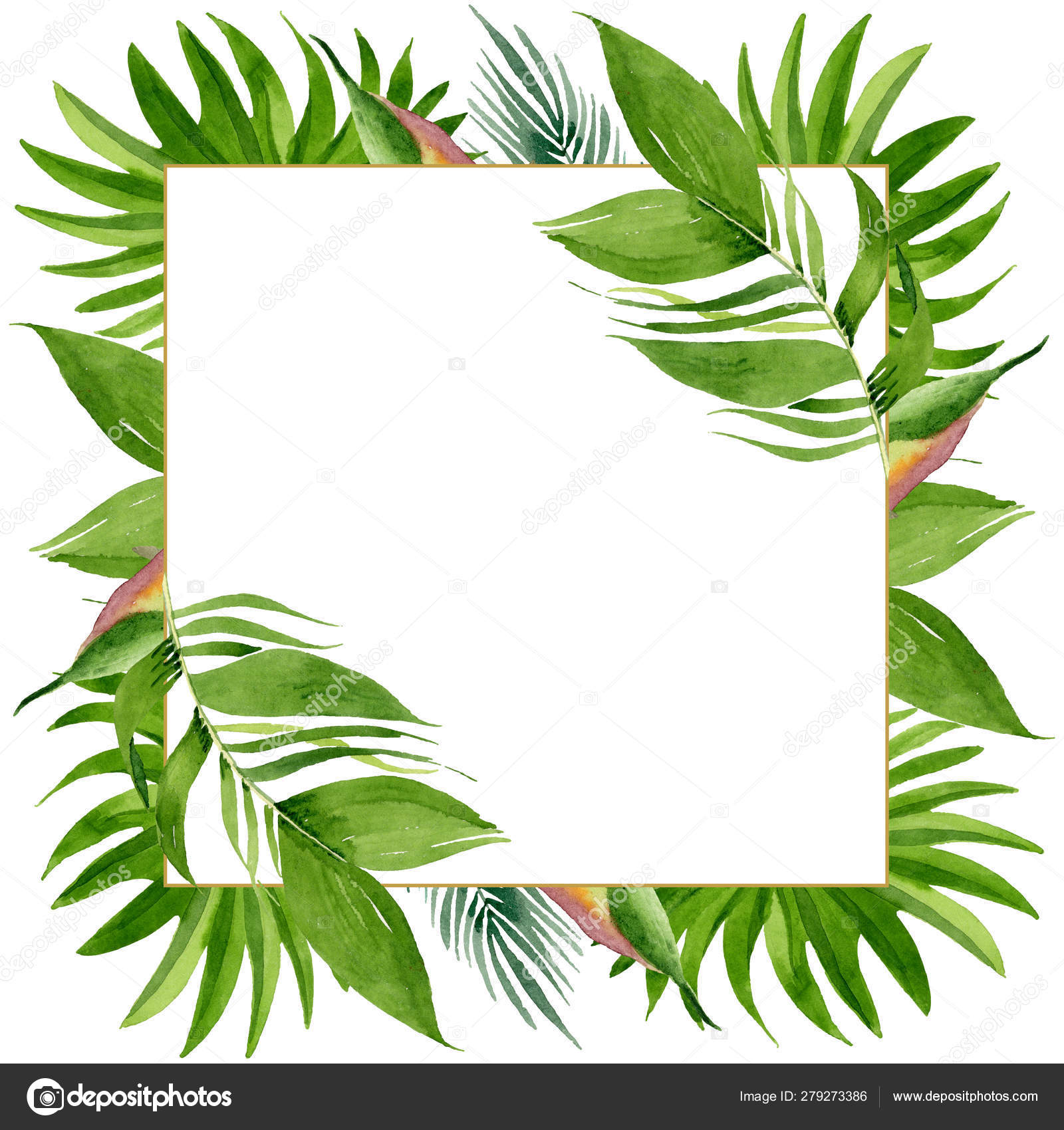 Small Trees For Borders: Palm Beach Tree Leaves Jungle Botanical. Watercolor