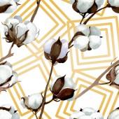 Fehér pamut virágos botanikai virágok. Akvarell háttér illusztráció meg. Folytonos háttérmintázat.