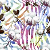 Bílé bavlněné květinové botanické květy. Vodný obrázek pozadí-barevný. Bezespání vzorek pozadí.