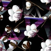 Fotografie Bílé bavlněné květinové botanické květy. Vodný obrázek pozadí-barevný. Bezespání vzorek pozadí.