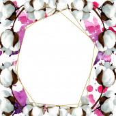 White cotton floral botanical flowers. Watercolor background illustration set. Frame border ornament square.