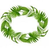 Palme Strand Blätter Dschungel botanischen. Aquarell Hintergrundillustration Set. Rahmen Rand Ornament Quadrat.