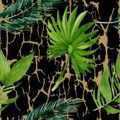 Palmový plážový strom opouští botanickou džungli. Vodný obrázek pozadí-barevný. Bezespání vzorek pozadí.