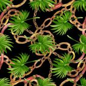 Albero spiaggia di palme lascia giungla botanica. Set di illustrazioni di sfondo dellacquerello. Modello di sfondo senza soluzione di continuità.