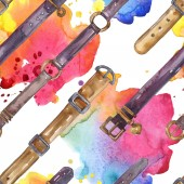 Leather belt sketch fashion glamour illustration in a watercolor style. Clothes accessories set. Watercolour drawing fashion aquarelle. Seamless background pattern. Fabric wallpaper print texture.