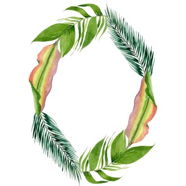 Exotic tropical hawaiian summer. Palm beach tree leaves jungle botanical. Watercolor background illustration set. Watercolour drawing fashion aquarelle. Frame border ornament square. stock vector