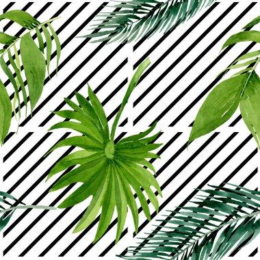 Exotic hawaiian summer. Palm beach tree leaves jungle botanical. Watercolor illustration set. Watercolour drawing fashion aquarelle. Seamless background pattern. Fabric wallpaper print texture. stock vector