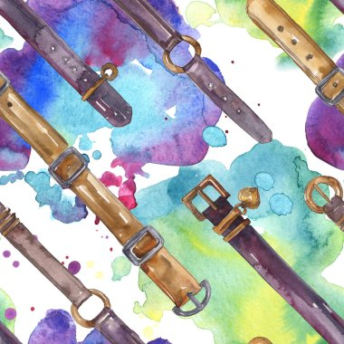 Leather belt sketch fashion glamour illustration in a watercolor style. Clothes accessories set. Watercolour drawing fashion aquarelle. Seamless background pattern. Fabric wallpaper print texture. stock vector