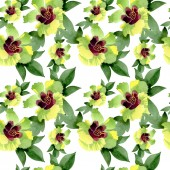 Cotton floral botanical flowers. Wild spring leaf wildflower. Watercolor illustration set. Watercolour drawing fashion aquarelle. Seamless background pattern. Fabric wallpaper print texture.