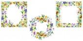 Buket s slunečnice květinové botanické květiny. Divoké květinové listy. Vodný obrázek pozadí-barevný. Akvarel na kreslicím módu. Obdélníkovský čtverec na okraji rámu.