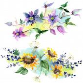 Fényképek Csokor napraforgós virágos botanikai virágok. Vad tavaszi levél vadvirág. Akvarell háttér illusztráció meg. Akvarell rajz divat Aquarelle. Lehántott csokrok illusztrációs elem.