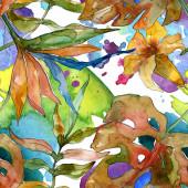 Estate tropicale esotica hawaiana. Set di illustrazioni di sfondo dellacquerello. Modello di sfondo senza soluzione di continuità.