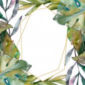 Exotický tropický havajský léto. Palmový plážový strom opouští botanickou džungli. Vodný obrázek pozadí-barevný. Akvarel na kreslicím módu Aquarelle. Orámovaná hranatá hranice.