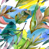Egzotikus trópusi Hawaii nyár. Palm Beach fa elhagyja dzsungel botanikus. Akvarell illusztráció meg. Akvarell rajz Aquarelle. Folytonos háttérmintázat. Szövet tapéta nyomtatási textúra.