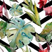 exotischer tropischer hawaiianischer Sommer. Palme Strand Blätter Dschungel botanischen. Aquarell-Illustrationsset vorhanden. Aquarell Zeichnung Aquarell. nahtlose Hintergrundmuster. Stoff Tapete drucken Textur.