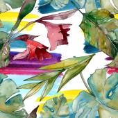 Exotický tropický havajský léto. Palmový plážový strom opouští botanickou džungli. Akvarel na obrázku. Akvarel s vodním zbarvením. Bezespání vzorek pozadí. Textura pro tisk tapety.