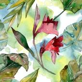 Estate tropicale esotica hawaiana. Albero spiaggia di palme lascia giungla botanica. Set di illustrazioni ad acquerello. Acquerello disegno aquarelle. Modello di sfondo senza soluzione di continuità. Tessuto carta da parati stampa texture.
