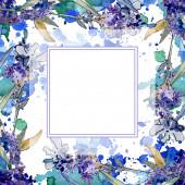 Fényképek Levendula virágos botanikus virágok. Akvarell háttér illusztráció meg. Keretszegély Dísz tér.