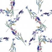 Lavender floral botanical flowers. Watercolor background illustration set. Frame border ornament square.