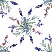 Lavendel Blumen botanische Blumen. Aquarell-Hintergrund-Illustration-Set. Nahtloses Hintergrundmuster.
