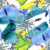 Fotografie Lavendel Blumen botanische Blumen. Aquarell-Hintergrund-Illustration-Set. Nahtloses Hintergrundmuster.