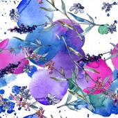 Levendula virágos botanikus virágok. Akvarell háttér illusztráció meg. Folytonos háttérmintázat.