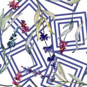 Photo Lavender floral botanical flowers. Watercolor background illustration set. Seamless background pattern.