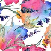 Levandule květinové botanické květy. Vodný obrázek pozadí-barevný. Bezespání vzorek pozadí.