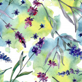 Lavender floral botanical flowers. Wild spring leaf wildflower. Watercolor illustration set. Watercolour drawing fashion aquarelle. Seamless background pattern. Fabric wallpaper print texture.