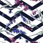 Levandule květinové botanické květy. Divoké květinové listy. Akvarel na obrázku. Akvarel na kreslicím módu. Bezespání vzorek pozadí. Textura pro tisk tapety.