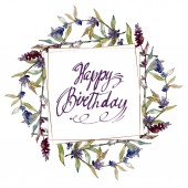 Purple lavender floral botanical flowers. Wild spring leaf wildflower isolated. Watercolor background illustration set. Watercolour drawing fashion aquarelle isolated. Frame border ornament square.