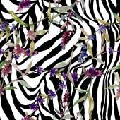 Lila levendula virágos botanikus virágok. Vad tavaszi levél vadvirág. Akvarell illusztráció meg. Akvarell rajz divat Aquarelle. Folytonos háttérmintázat. Szövet tapéta nyomtatási textúra.