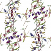 Purple lavender floral botanical flowers. Wild spring leaf wildflower. Watercolor illustration set. Watercolour drawing fashion aquarelle. Seamless background pattern. Fabric wallpaper print texture.