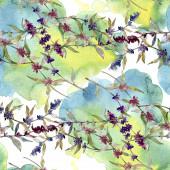 Fotografie Fialové levandule květinové botanické květy. Divoké květinové listy. Akvarel na obrázku. Akvarel na kreslicím módu. Bezespání vzorek pozadí. Textura pro tisk tapety.