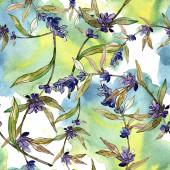 Fialové levandule květinové botanické květy. Divoké květinové listy. Akvarel na obrázku. Akvarel na kreslicím módu. Bezespání vzorek pozadí. Textura pro tisk tapety.