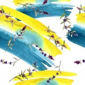 lila Lavendel blühende botanische Blumen. wilde Frühlingsblume. Aquarell-Illustrationsset vorhanden. Aquarell zeichnen Mode-Aquarell. nahtlose Hintergrundmuster. Stoff Tapete drucken Textur.