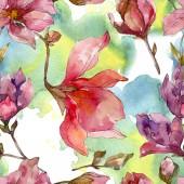 Fotografie Camelia floral botanical flowers. Watercolor background illustration set. Seamless background pattern.