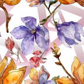 Camelia floral botanical flowers. Watercolor background illustration set. Seamless background pattern.
