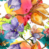 Fotografie camelia florale botanische blumen. Aquarell Hintergrundillustration Set. nahtloses Hintergrundmuster.