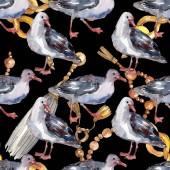 Nebeský pták Racek v divoké přírodě. Divoká svoboda, pták s létajícími křídly. Akvarel na obrázku. Akvarel na kreslicím módu. Bezespání vzorek pozadí. Textura pro tisk tapety.