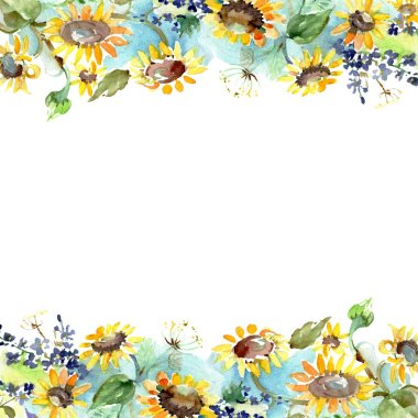 Bouquet with sunflowers floral botanical flowers. Wild spring leaf wildflower isolated. Watercolor background illustration set. Watercolour drawing fashion aquarelle. Frame border ornament square. stock vector