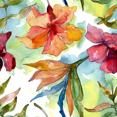 Exotic tropical hawaiian summer. Watercolor background illustration set. Seamless background pattern.
