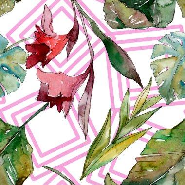 Exotic tropical hawaiian summer. Palm beach tree leaves jungle botanical. Watercolor illustration set. Watercolour drawing aquarelle. Seamless background pattern. Fabric wallpaper print texture. stock vector