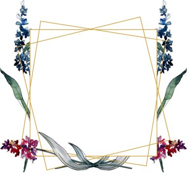 Lavender floral botanical flowers. Wild spring leaf wildflower isolated. Watercolor background illustration set. Watercolour drawing fashion aquarelle. Frame border ornament square. stock vector