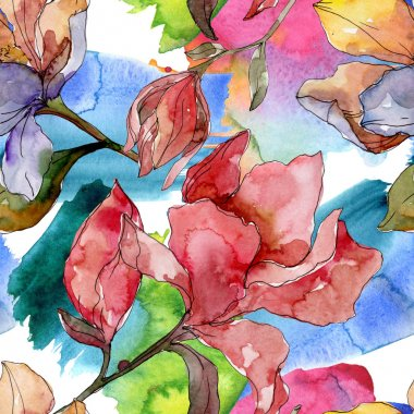 Camelia floral botanical flowers. Wild spring leaf wildflower. Watercolor illustration set. Watercolour drawing fashion aquarelle. Seamless background pattern. Fabric wallpaper print texture. stock vector